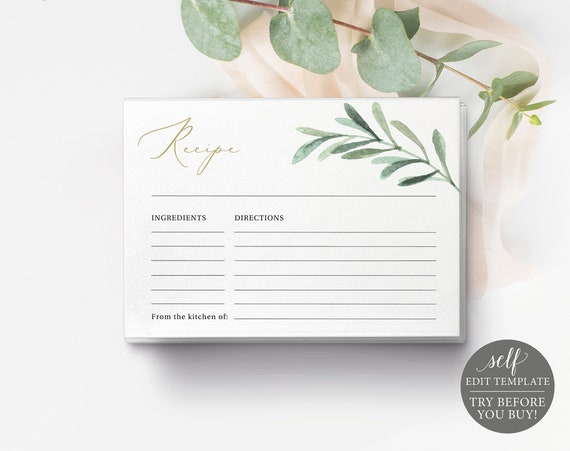 Recipe Card Template, Greenery Leaf, Editable Instant Download, TRY BEFORE You BUY