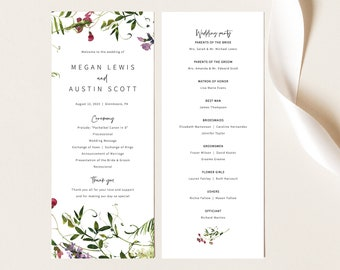 Wedding Program Template, Summer Garden Greenery, Wedding Ceremony Program, Printable, Templett INSTANT Download, Editable