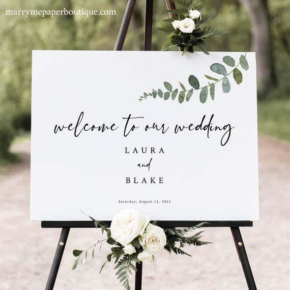 Greenery Wedding Welcome Sign Template, Eucalptus Wedding Sign Printable, Templett Instant Download, Try Before Purchase
