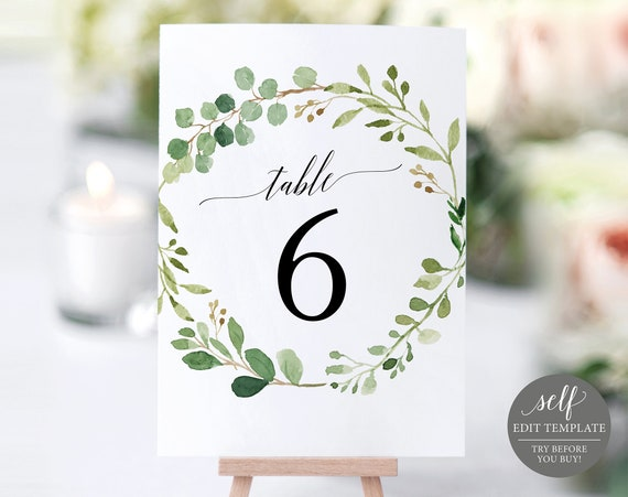 Wedding Table Number Template, TRY BEFORE You BUY, Instant Download, Table Numbers Printable, 100% Editable, Greenery Wedding