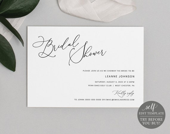 Bridal Shower Invitation Template, Minimalist Script, Editable & Printable Instant Download