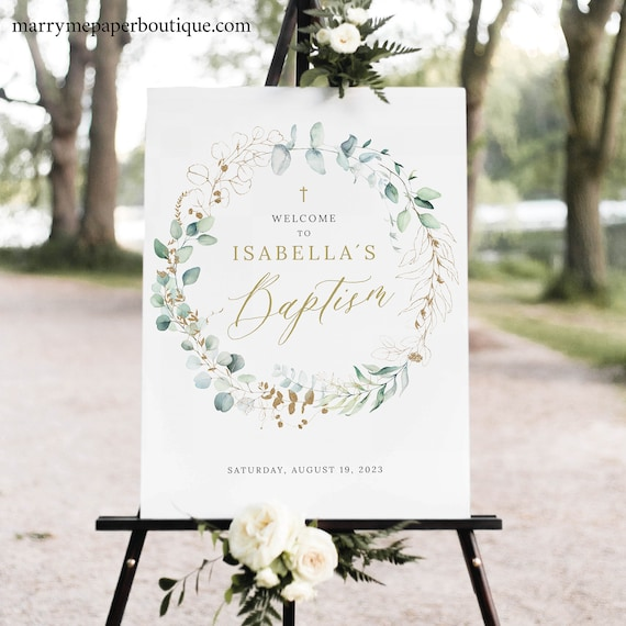 Baptism Welcome Sign Template, Gold & Greenery, Editable Baptism Sign, Printable, INSTANT Download, Templett