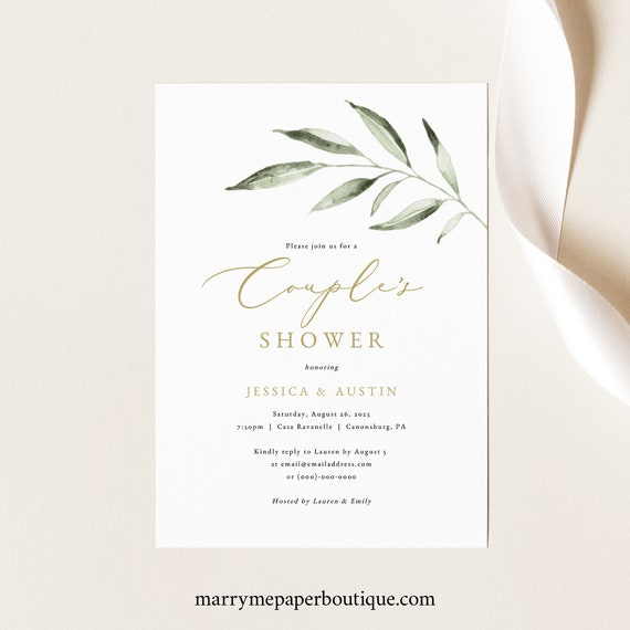 Couples Shower Invitation Template, Olive Leaf Greenery, Couples Shower Invite Printable, Editable, Templett INSTANT Download