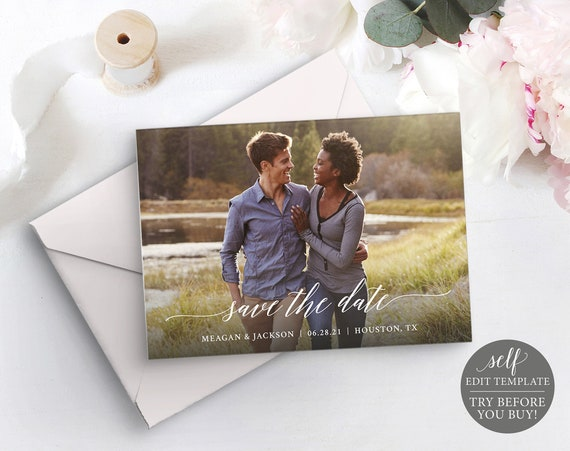 Photo Save The Date Template, TRY BEFORE You BUY, 100% Editable Instant Download, Calligraphy