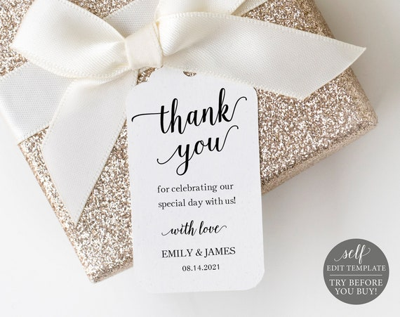 Wedding Favor Tag Template, Modern Script, 100% Editable Instant Download, TRY BEFORE You BUY