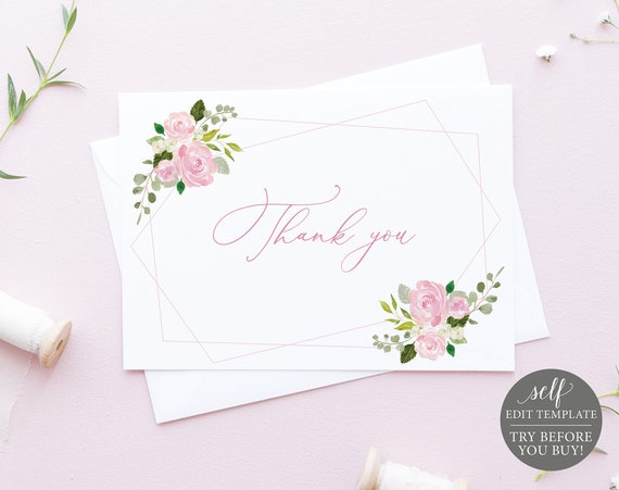 Thank You Card Template, TRY BEFORE You BUY, Instant Download, 100% Editable Geometric Blush Printable