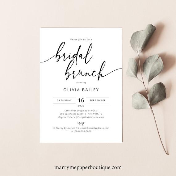 Bridal Brunch Invitation Template, Modern Calligraphy, Elegant Bridal Shower Brunch Invite, Printable, Editable, Templett INSTANT Download