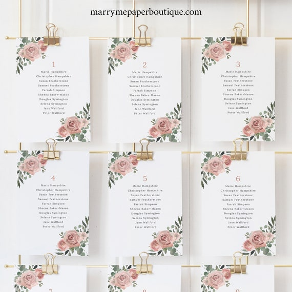 Seating Chart Cards Template, Dusky Pink Floral, Wedding Seating Cards, Printable, Editable, Templett INSTANT Download