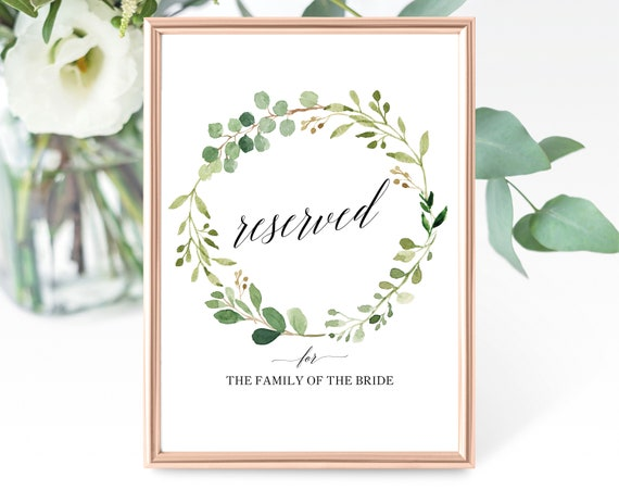 Greenery Wedding Reserved Table Sign Template, Printable Reserved Sign Template, Editable Reserved Table Sign, PDF Instant Download, MM07-1