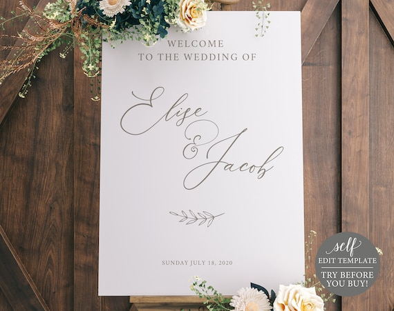 Wedding Welcome Sign Template, TRY BEFORE You Buy, Wedding Sign Poster Printable, 100% Editable, Instant Download, Calligraphy