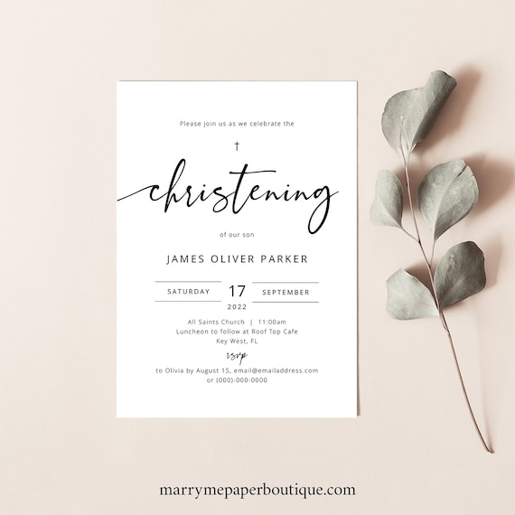 Christening Invitation Template, Modern Calligraphy, Templett Instant Download, Try Before You Buy, Editable & Printable