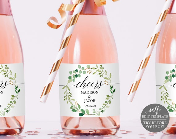 Champagne Bottle Label Template, Greenery, Editable Instant Download, TRY BEFORE You BUY