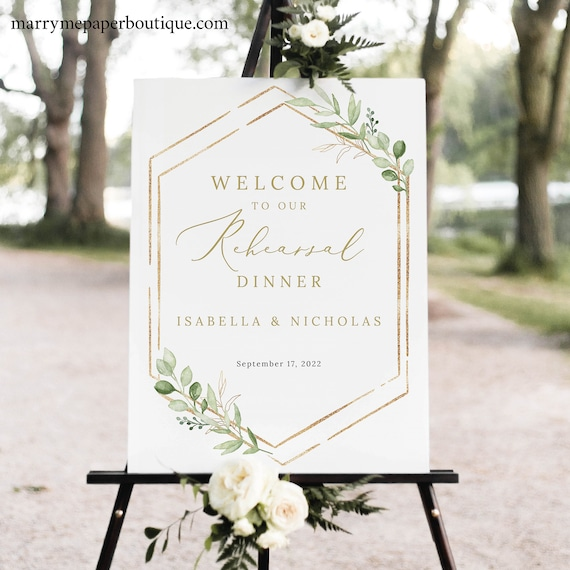 Rehearsal Dinner Welcome Sign Template, Greenery Hexagonal, Templett, Try Before Purchase, Editable & Printable, Instant Download