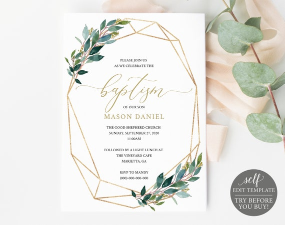 Baptism Invitation Template, TRY BEFORE You BUY! Printable Baptism Invite, 100% Editable, Gold, Greenery, Instant Download