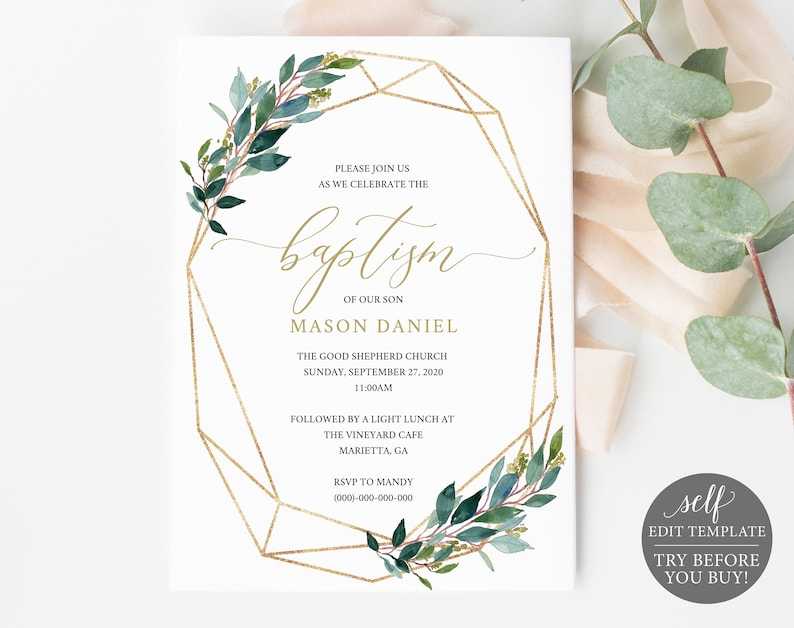 photo about Free Printable Baptism Invitation Template known as Baptism Invitation Template, Try out In advance of Your self Obtain! Printable Baptism Invite, 100% Editable, Gold, Greenery, Instantaneous Obtain