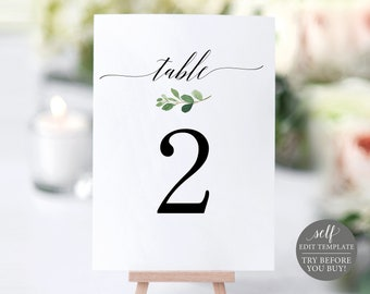 Greenery Table Number Template, TRY BEFORE You BUY,  Editable Template, Wedding Table Numbers Printable, Instant Download