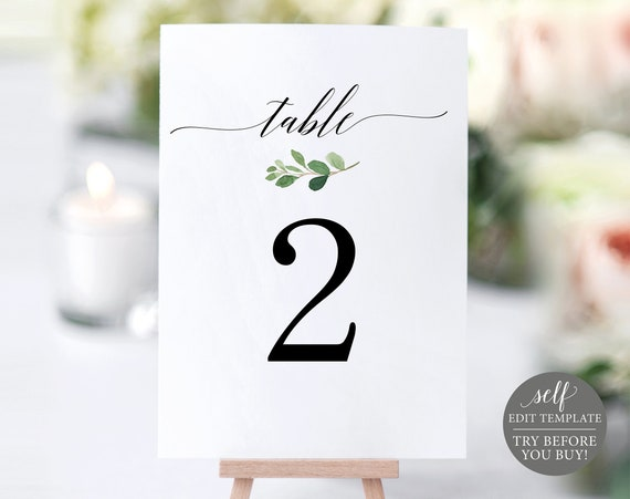 Greenery Table Number Template, TRY BEFORE You BUY, 100% Editable Template, Wedding Table Numbers Printable, Instant Download