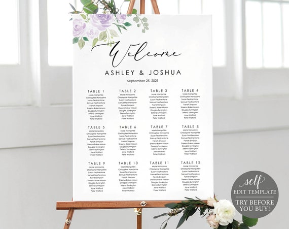 Seating Chart Template, Lilac Floral, Editable Instant Download, TRY BEFORE You BUY