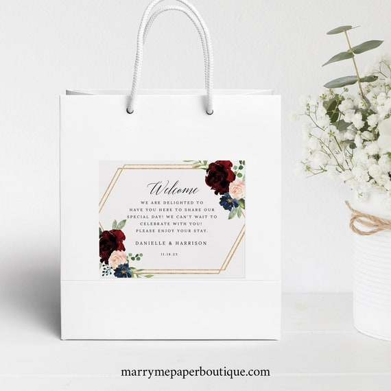 Welcome Bag Label Template, Burgundy Hexagonal, Demo Available, Printable Editable Instant Download