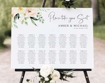 Wedding Seating Chart Template, Pink Floral Greenery, Ivory, Wedding Seating Plan Sign, Printable, Editable, Templett INSTANT Download