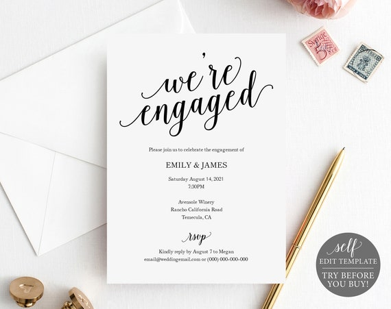 Engagement Party Invitation Template, TRY BEFORE You BUY, 100% Editable Instant Download, Modern Script