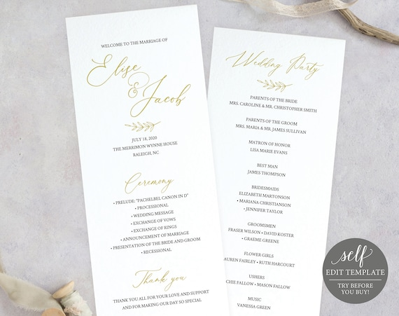 Wedding Program Template, TRY BEFORE You BUY, Printable Ceremony Program, Order of Service, 100% Editable, Instant Download, Calligraphy