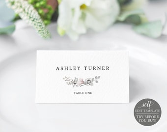 Place Card Template, Neutral Floral, Free Demo Available, Editable Instant Download