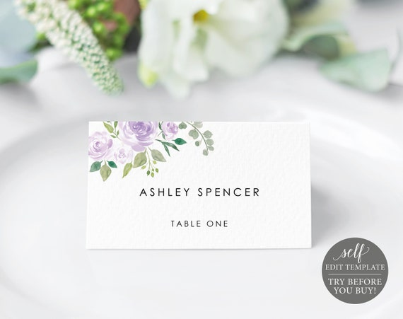 Place Card Template, Mauve & Lilac Floral, TRY BEFORE You BUY, Editable Instant Download