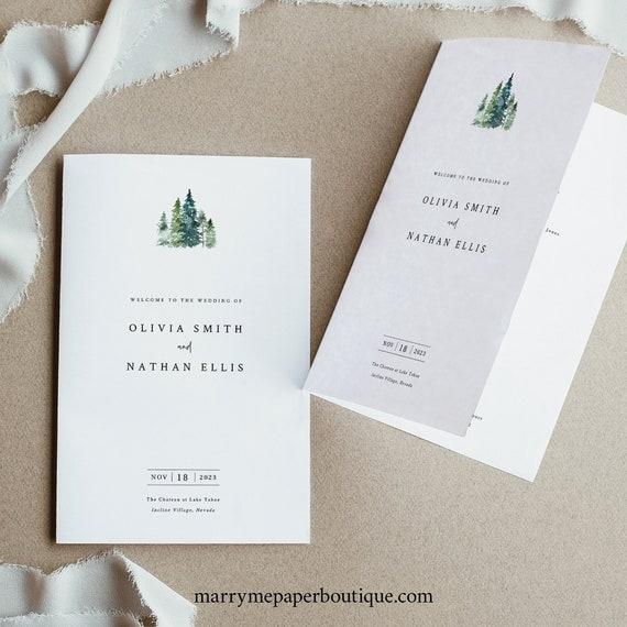 Pine Forest Wedding Program Template, Folded, Rustic Pine Trees, Printable Program, Editable, INSTANT Download, Templett
