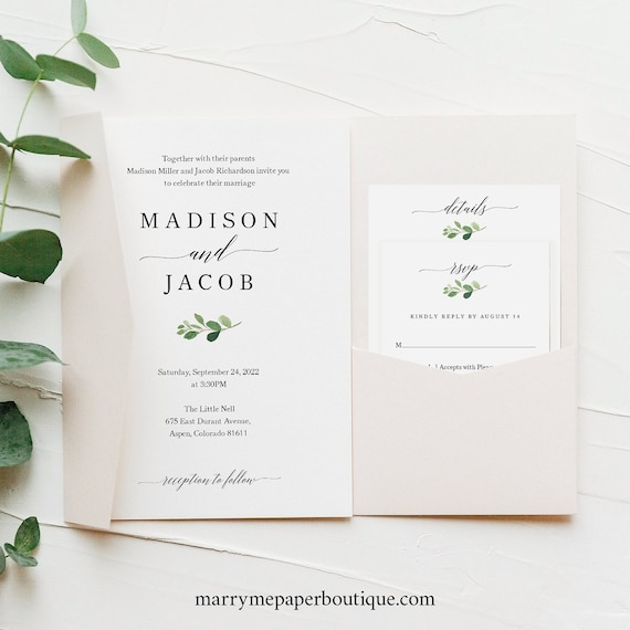 Wedding Invitation Template Set, Greenery Leaf, Try Before Purchase, Editable & Printable, Instant Download, Pocketfold Style