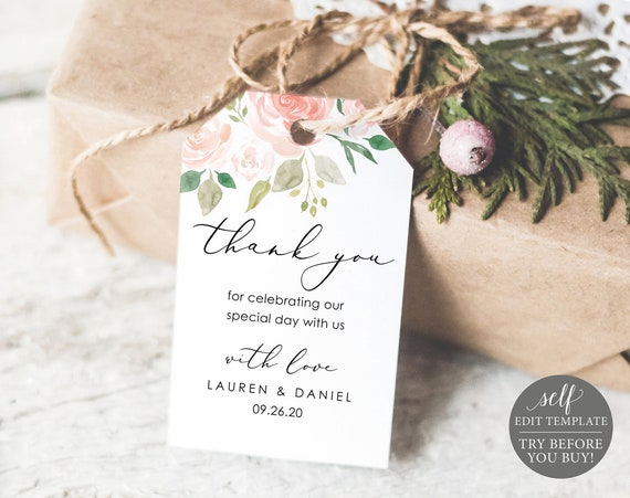 Wedding Favor Tag Template, TRY BEFORE You BUY, Thank You Tag Printable, Welcome Tag, Instant Download, 100% Editable, Pink & Blush Floral