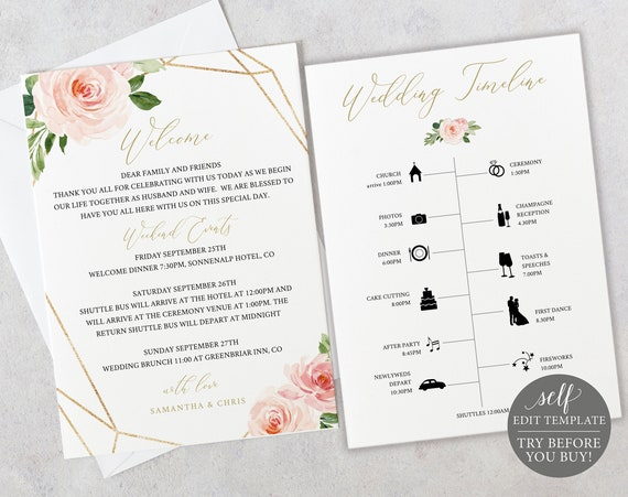 Wedding Timeline & Welcome Template, TRY BEFORE You BUY, Fully Editable Instant Download, Blush Floral Geometric
