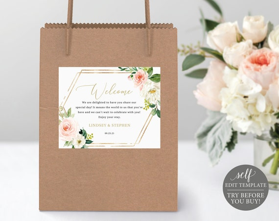 Welcome Bag Label Template, Blush Floral Hexagonal, Editable Instant Download, TRY BEFORE You BUY