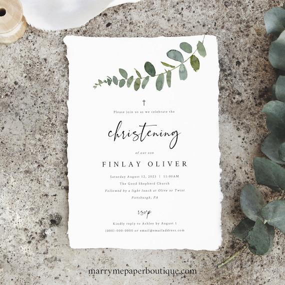 Eucalyptus Christening Invitation Template, Greenery Invite, Printable, Templett, Editable, INSTANT Download