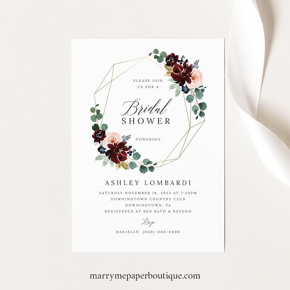Bridal Shower Invitation Template, Burgundy Floral Bridal Shower Invite, Printable, Editable, Templett INSTANT Download