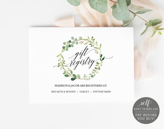 Wedding Registry Card Template, Greenery, TRY BEFORE You BUY, Editable Instant Download