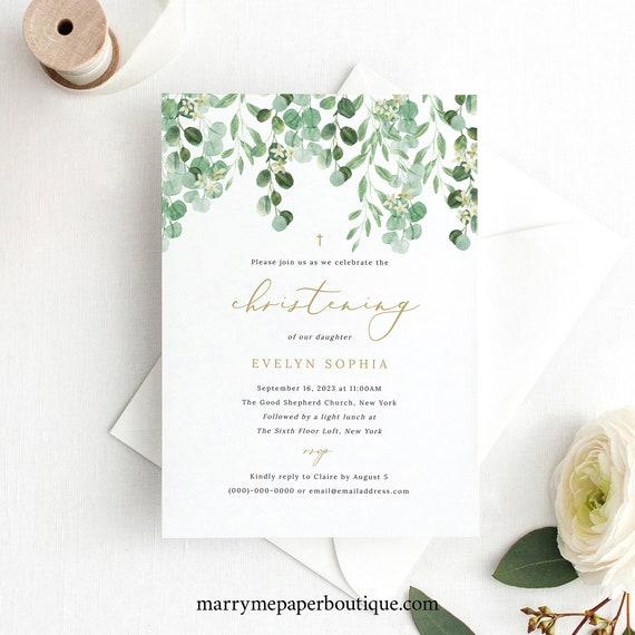 Christening Invitation Template, Garden Greenery, Printable Invite, Templett, INSTANT Download, Editable