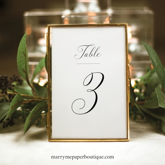 Table Number Template, Calligraphy, Traditional Wedding, Printable Table Number Sign, Fully Editable, Templett INSTANT Download