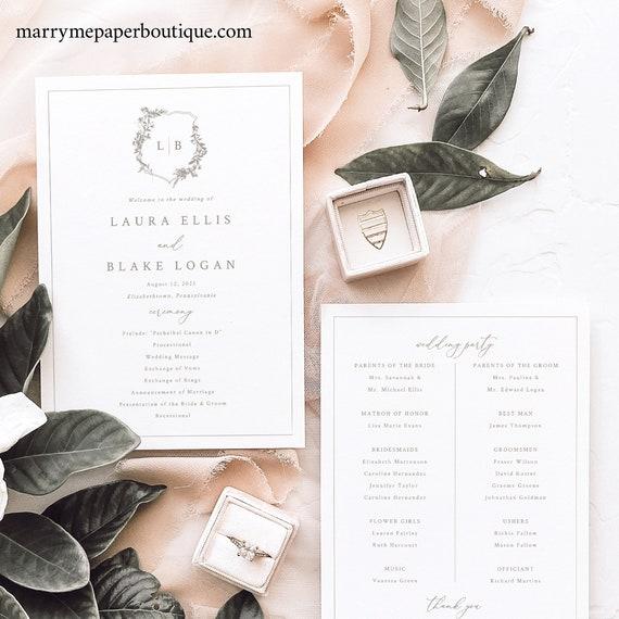 Wedding Program Template, Botanical Crest, Elegant Wedding Ceremony Program Printable, 5x7, Editable, Templett INSTANT Download