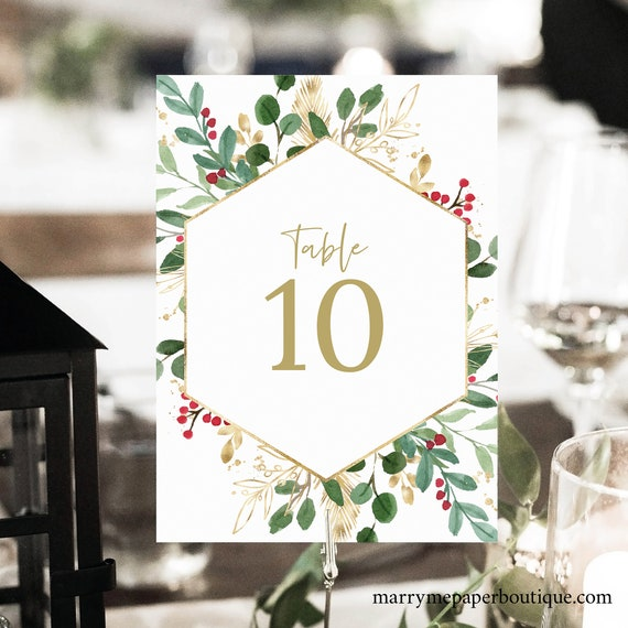 Winter Berry Table Number Sign Template, Christmas Wedding, Table Number Printable, Instant Download, Templett, Editable