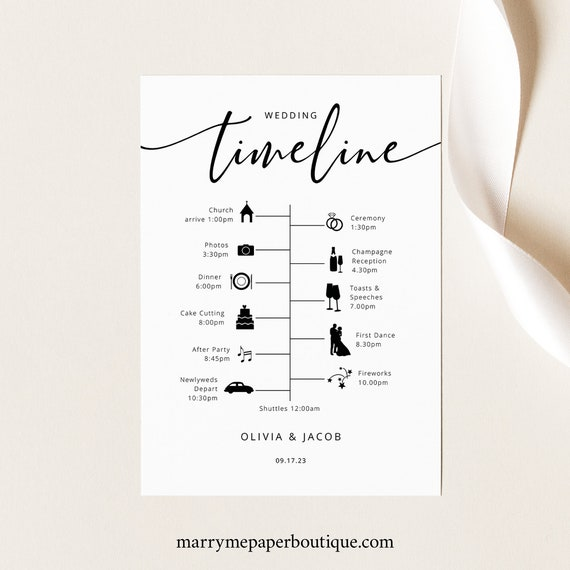 Wedding Itinerary Card Template, Modern Calligraphy, Wedding Timeline Card, Printable, Templett INSTANT Download, Fully Editable