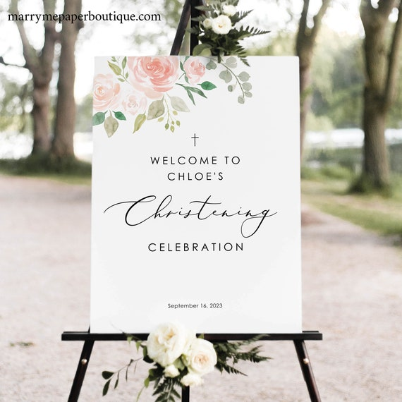 Christening Welcome Sign Template, Pink Blush Floral, Elegant Christening Sign, Printable, Editable, Templett INSTANT Download