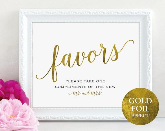 Gold Wedding Favor Sign, Mr and Mrs, Favors Sign, Wedding Favor Printable, Wedding Printable, Wedding Template, PDF Instant Download, MM01-3