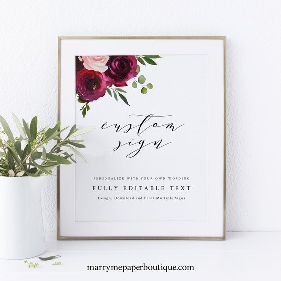 Wedding Sign Bundle, Create Multiple Signs Template, Burgundy Flowers, Templett Instant Download, Try Before Purchase