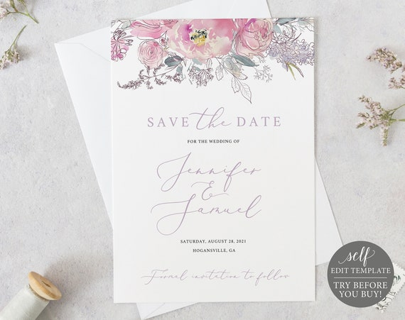 Save the Date Template, Pink & Lilac Floral, Fully Editable Instant Download, TRY BEFORE You BUY