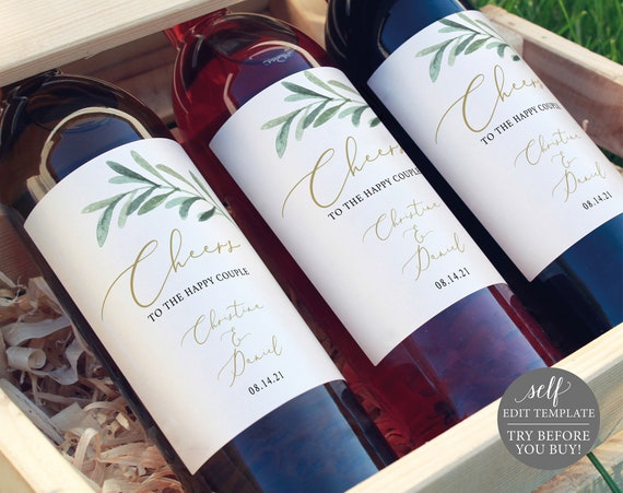 Wine Label Template, TRY BEFORE You BUY, Editable Instant Download, Greenery Leaf