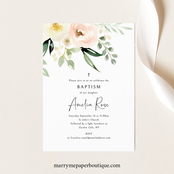 Baptism Invitation Template, Printable Invite, Templett Instant Download, Try Before Purchase, Pink Floral Greenery Ivory