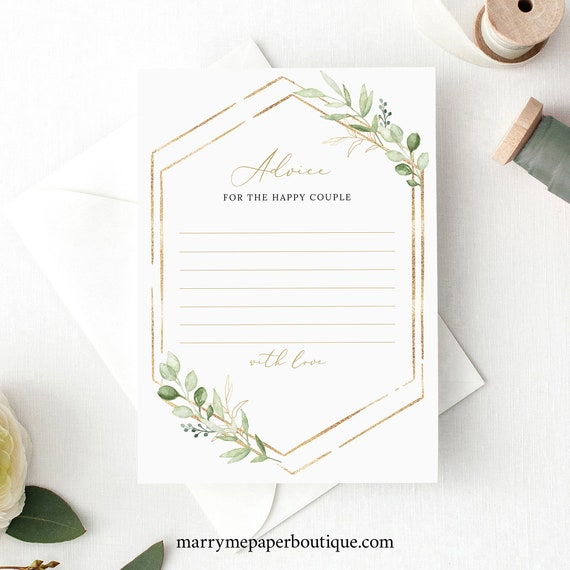 Advice Card Template, Greenery Hexagonal, Editable & Printable, Instant Download, Templett, Try Before You Buy