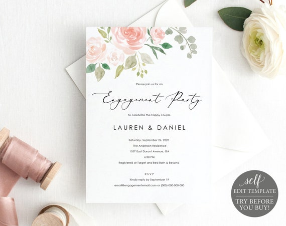 Engagement Party Invite Template, TRY BEFORE You BUY, 100% Editable Instant Download, Blush Pink Floral
