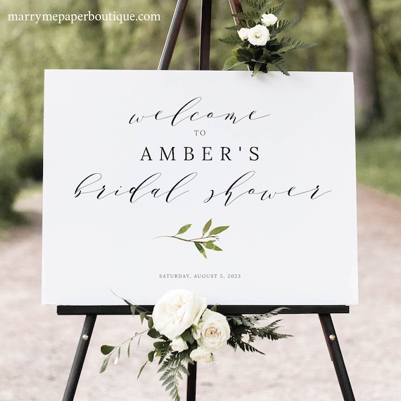 Greenery Bridal Shower Welcome Sign Template, Green Leaf  Bridal Shower Sign Printable, Templett, Instant Download, Fully Editable